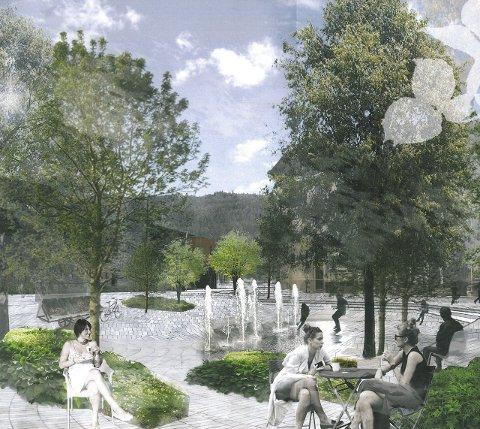 GRØNT TORG: Slik kan Gran torg se ut i framtiden foreslår Link Arkitektur. Illustrasjon: Link Arkitektur AS Landskap