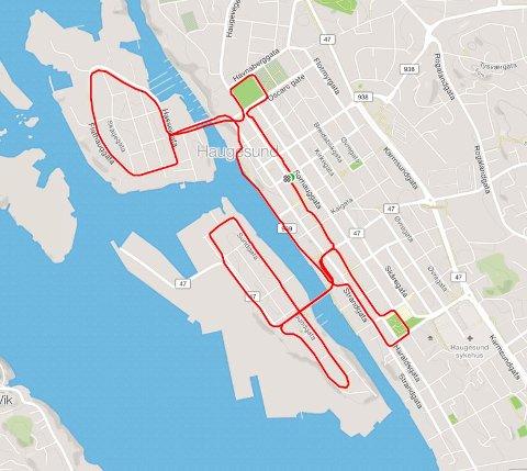 SLIK BLIR LØYPA: Sentrumsløpet er 7 km.