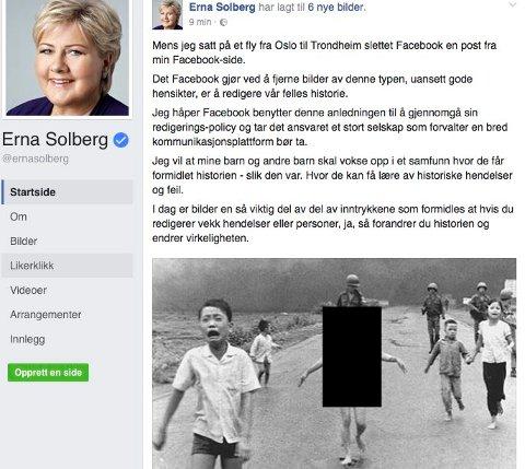 Oslo  20160909. Statsminister Erna Solberg har igjen lagt ut Vietnam-bildet på sin Facebookside, denne gangen har de sladdet bildet sammen med flere andre historiske bilder.  Foto: Skjermbilde / NTB scanpix