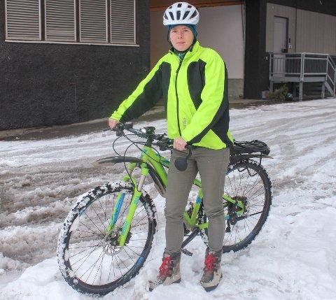 LIVREDD: Jannike Falk-Andersson var livredd på sykkelen på vei til jobb mandag.