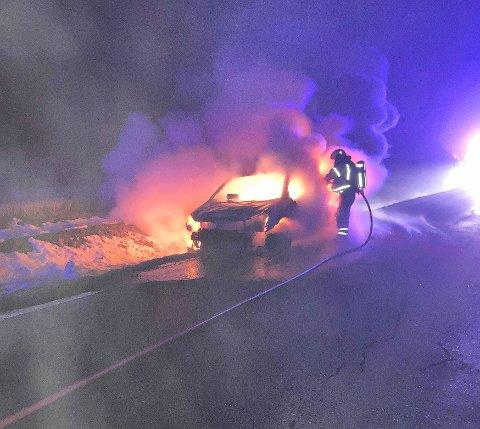 OVERTENT: Sånn så det ut da brannvesenet kom fram til brannen.