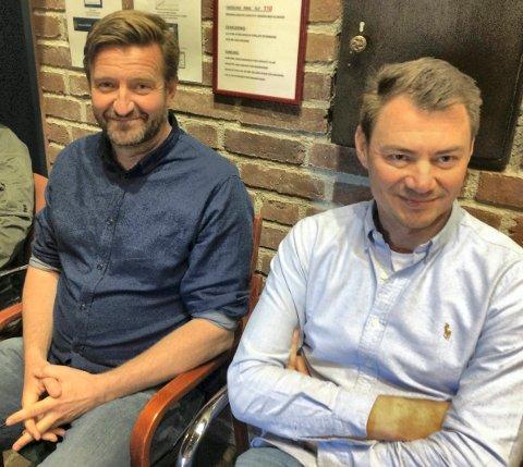 TILFREDSE: Tjeran Haugen (t.v.) og Ole Henrik Eftedal i Torp Hotelleiendom AS setter ekstra stor pris på at politikerne i planutvalget var samstemige om å si ja til hotellprosjektet.