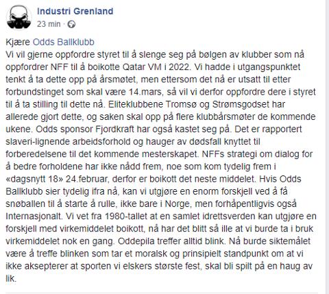 KLAR TALE: Industri Grenland la fredag ut en melding på sin Facebook-side hvor de oppfordrer Odd til å gjøre det samme som Tromsø og Strømsgodset.