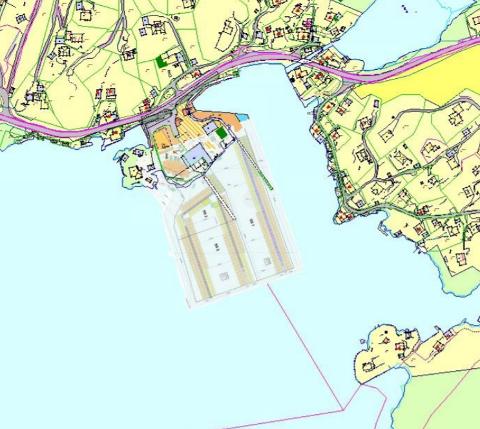 Dette viser størrelsen på småbåtanlegget etter utvidelsen.