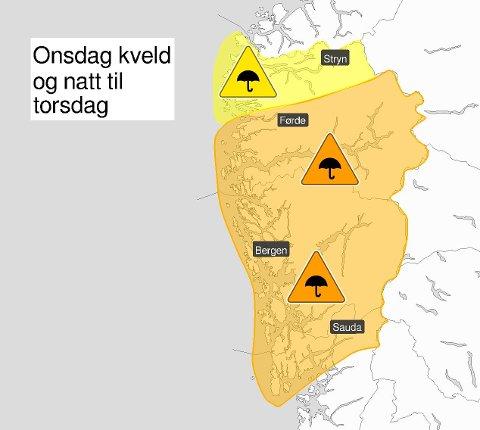 Oransje farevarsel i heile Hordaland onsdag kveld og natt til torsdag.