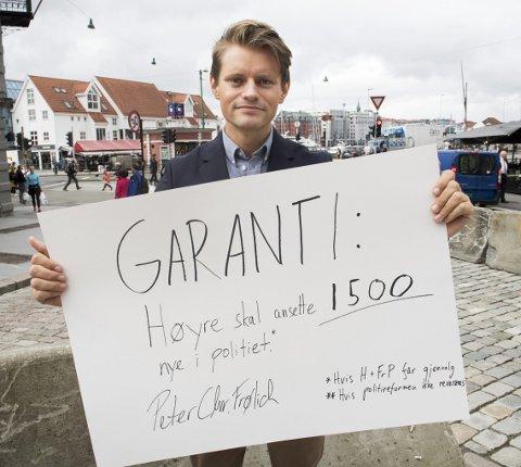 Hjemmesnekret:  Lederen i Hordaland Høyre, Peter Frølich, gir her sin garanti.          – Jeg er bombesikker på at vi skal klare dette, sier han. FOTO: ARNE RISTESUND