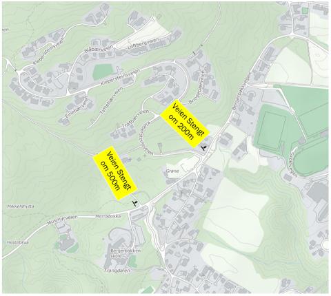 STENGT: Deler av Bergerbakkvegen i Jevnaker stenges.