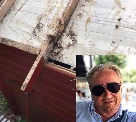 KJEMPER: Einar Rudaa står på i håp om at norske hytteeiere i Sverige kan overnatte og slippe karantene når de kommer hjem etter å ha utført nødvendig vedlikehold. Dette er en fotomontasje.