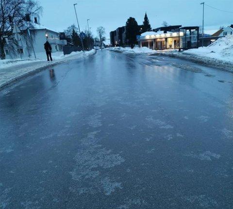 Dette bildet tok Erik Schjerve på Munkvoll like før klokken 8 lørdag morgen.