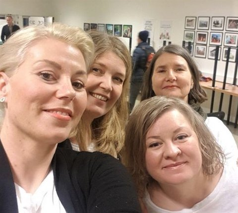 KunstKALLs medlemmer Cecilie Løvik Sveen, Kristin Vibeke Jørgensen, Reidun Falk og Tone Hermansen