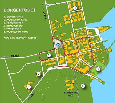BORGERTORGET: Rutekart over Borgertoget i Stavern 17.mai.