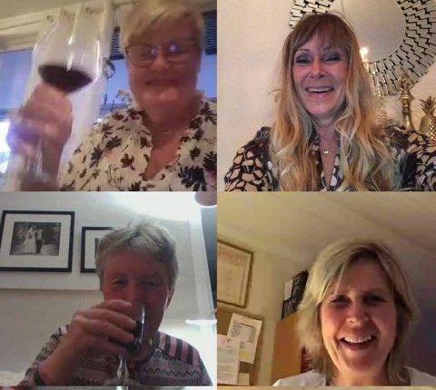MÅTTE MØTES: Strikkesøstrene er en så fersk klubb at de ikke tok sjansen på opphold i de ukentlige møtene. Så de gikk digitalt og fokuserte på vin første kvelden.