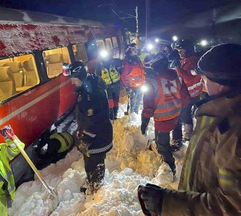 Totalt ti erfarne frivillige fra Røde Kors, to politiansatte og fire hunder ble sendt ut til snøskredet øst for Upsete. Alle ble sittende på Myrdal stasjon i nesten ni timer etter aksjonen.