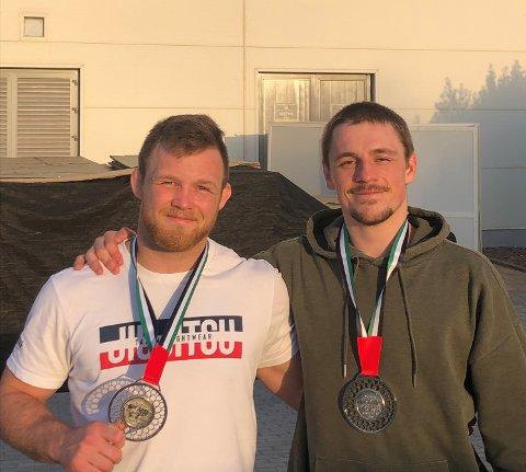 SØLV OG BRONSE: Espen Mathisen fra Egersund og Tommy Langaker fra Haugesund, vant begge sølv og bronse i Abu Dhabi, men i hver sin vektklasse.