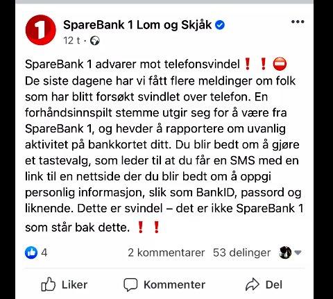 Kopi av meldingen om svindelforsøk, som SpareBank 1 Lom og Skjåk sendte ut.