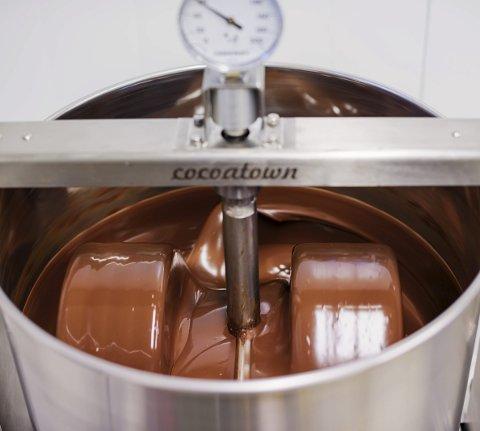 1 blanding: Mørk med kraftig sjokoladesmak. 2 BØNNER: Importert direkte frå Brasil og Madagaskar. 3 KONFEKT: Siv Hereid sprøyter fyll i konfektformer. 4 KONFEKT: Agur med mørk konfekt pynta med gull. 5 KVIT: Den kvite sjokoladen til Fjåk er farga rosa av tyttebær. 6 GRÜNDERAR: Agur og Siv. Foto 1, 2, 5 og 6: Agurtxane Concellon. Foto 3 og 4: Eli Lund