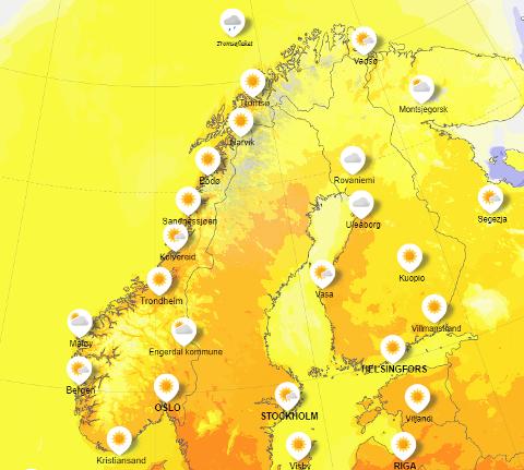 Nå kommer våren: Det ventes full vår i store deler av landet denne uken. Men finværet fører også med seg ekstrem spredning av bjørkepollen. Kart: Meteorologisk institutt
