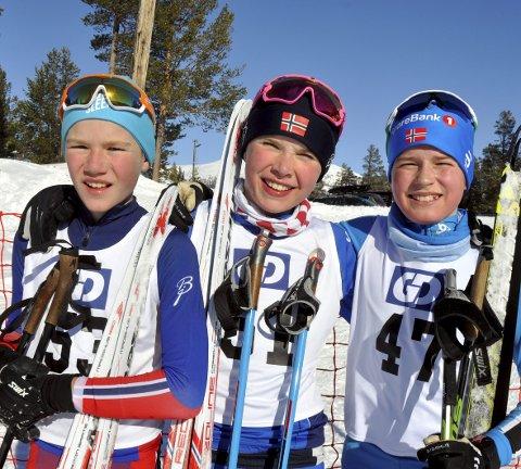 STORKOSTE SEG: – Artig å gå i heat og konkurrere tett mot hverandre, sier Ola Fjeld, Fra venstre: Ola Fjeld, Edvald Smogeli Opsann og Kristian Sørbotten.