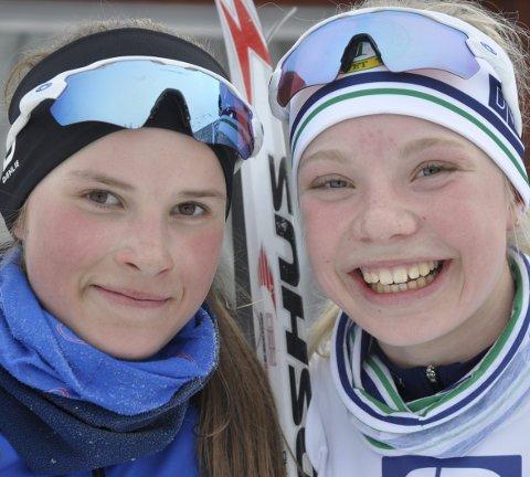 Oline Vestad (t.v.) og Maria Lykken Hamre kunne smile fornøyd etter innsatsen i Heidalsskogsrennet. Alle foto: Geir Teigøyen