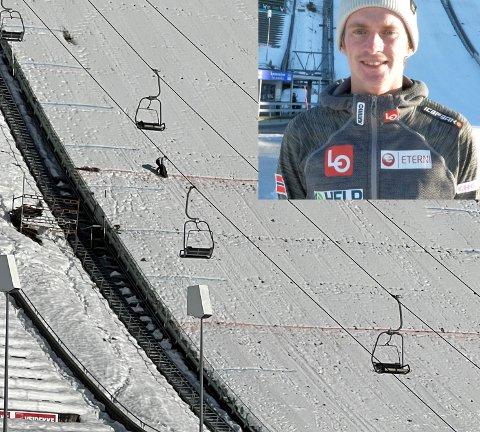 Skihopper Anders Fannemel setter ikke pris på at unnarennet i Lysgårdsbakkene brukes til aking.