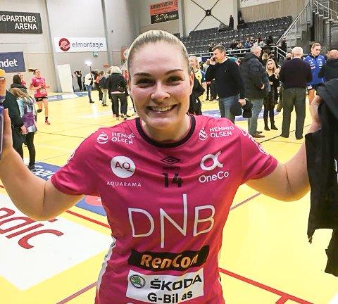 TIL CUPFINALE: Pernille Wang Skaug jubler etter Vipers storseier over Storhamar i semifinalen tirsdag kveld.