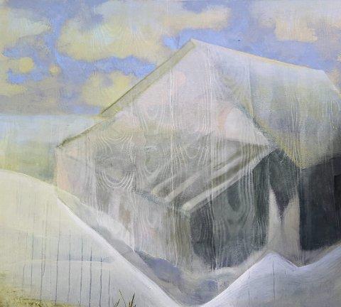 Felicitas Aga: Kunstneren er opptatt av røtter og å høre til. Her er ett av maleriene som nå er kommet til rette og henger på Mælen.
