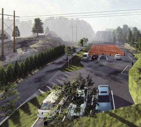 Her på Krokåker skal tennisbanen bygges, mellom den eksisterende fotballbanen og bedehuset. Illustrasjoner: Atle Goutbeek