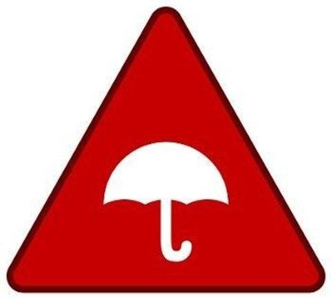 TO TING: Dette symbolet betyr regn, med fargen som står for ekstrem farge. Grafikk: Meteorologisk Institutt / yr.no