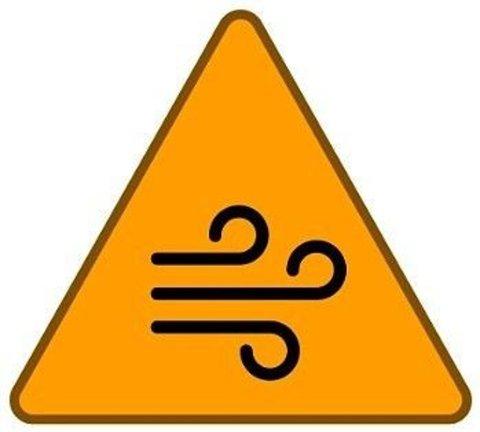 TO TING: Dette symbolet betyr at det er snakk om vind i fargen til stor fare. Dermed kan man vente seg en stor fare for kraftig vind. Grafikk: Meteorologisk Institutt / yr.no