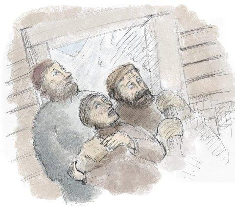 Tre mistet livet: Da demningen brast, var mennenes skjebne beseglet.Illustrasjon: Svein Ole Nilsen
