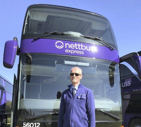 Nye busser: Bjørn Inge Brekkemoen er en av sjåførene som skal kjøre de nye dobbeltdekkerne mellom Oslo og Kristiansand.