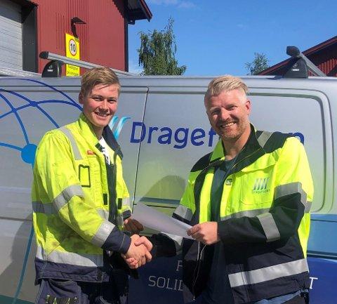 Gode prestasjoner: Både Kristoffer André Sollid (20) og Kjell Espen Sivertsen på vegne av Dragefossen Kraftanlegg er stolt over innsatsen som er lagt ned, og arbeidet til 20-åringen har gitt resultater.