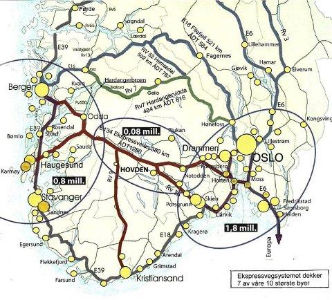 Haukeli er valgt. Nå står kampen om veien over Hardangervidda eller Hemsedal skal bli den andre øst-vest-forbindelsen. KART: SIV. ING. JOHANNES SØRLI