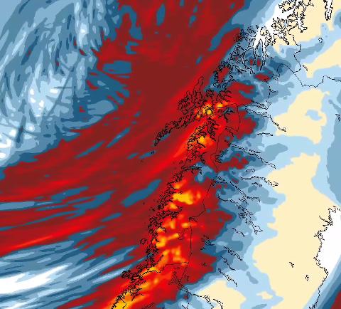 FÅ LYSPUNKTER: Her er 24-timers nedbør fra fredag kveld til lørdag kveld. Både vind og nedbør kommer til å merkes godt, spesielt langs kysten av Nordland.