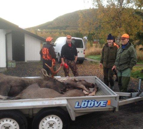 Her står jaktlaget i Sigerfjorden med tre av dyrene de tok fredag morgen.