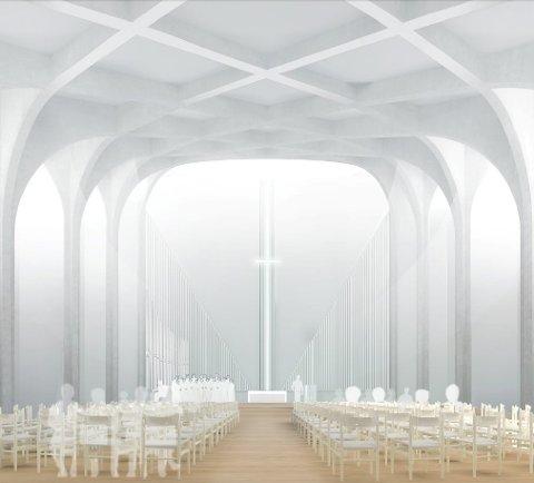 Slik tenker Link Arkitekter seg innsiden av nye Hønefoss kirke. Hva mener Danbolt om det, tro?