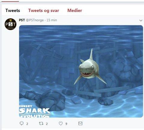 Oslo  20181027. Et bilde fra nettbrettspillet ' Hungry Shark Evolution » lå lørdag morgen på Twitter-feeden til Politiets sikkerhetstjeneste (PST) en halvtime før det ble fjernet. I flg TV2 viste det hele seg å være et feiltrykk fra sønnen til kommunikasjonssjef i PST, Martin Bernsen. Foto: Skjermdump Twitter / NTB scanpix