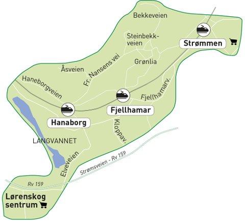 HER KJØRER DEN: Kartet viser området hvor minibussen på bestilling (linje 316) kjører.