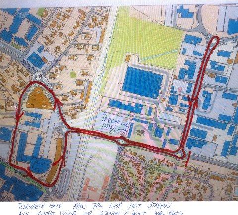 INNTAR VEIENE: Kartet viser traseen til den første utgaven av Jessheim rulleskishow.