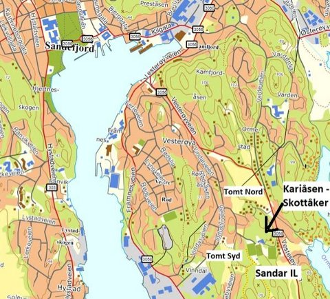 NYE ALTERNATIVER: Skottåker og Kariåsen/Skottåker skal nå utredes. To alternativer Nord og ett Syd har vært på høring. (Illustrasjon: Sandefjord kommune)