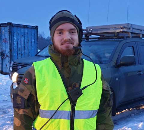 Niklas Strøm fra Svelvik er en av mange i Heimevernet som rykket ut for å bistå i Gjerdrum.