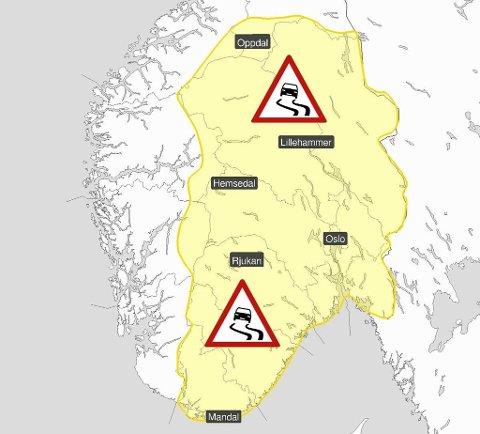 SNØ OG VIND:Meteorologene har sendt ut farevarsel for vanskelige kjøreforhold i fjellet i Sør-Norge og østafjells fra onsdag. (Meteorologisk institutt/Yr.no)