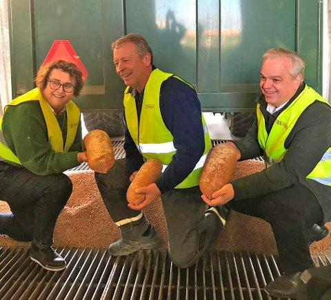 Dette ene kornlasset gir korn til 30.000 brød. Svein Stubberud, Olaug Bollestad og John Arne Ulvan er fornøyd.