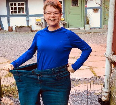 HALVERTE KROPPSVEKTA: Karen-Marie fra Son gikk fra å veie 120 kg til 60 kg på ett år.