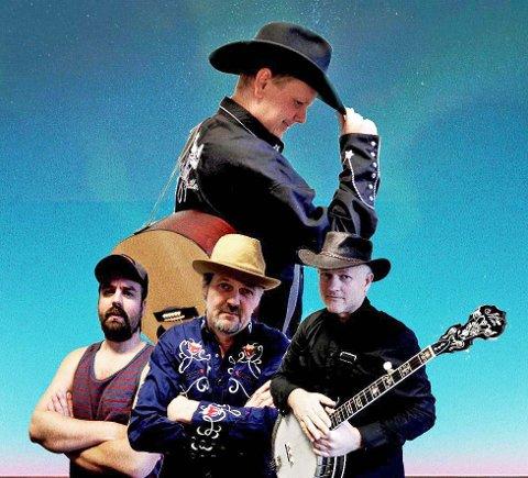 Rune Nilson (øverst) tar til helga med seg et countryband og figuren Charlie Rackstead til Dalane Blues Festival.