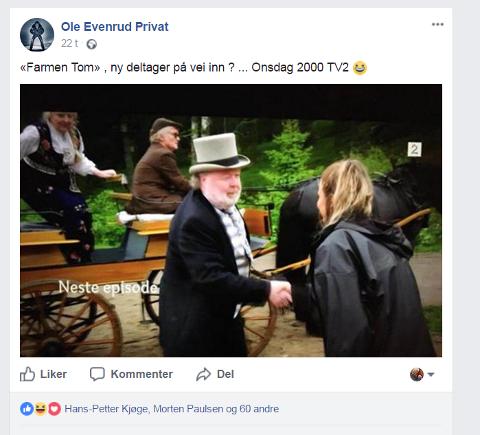 TOM PÅ FARMEN: Tom Skjeklesæther har en sentral statistrolle i kvelden episode avFarmen-kjendis, det har ikke gått upåaktet hen i sosiale medier. (skjermdump)