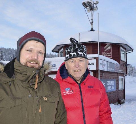 KLAR: Øyvind Snefjellå, rennleder for NNM i skiskyting, og speaker Asgeir Krutå, vil gjøre sitt til at mesterskapet blir et nytt utstillingsvindu for Rana og Skillevollen Idrettspark.