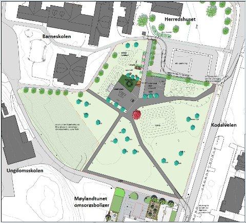 BYDELSPARK: Tegningen viser Sentrumsjordet, og hvordan området foreslås  oppgradert og disponert. (Illustrasjon: Asplan Viak)