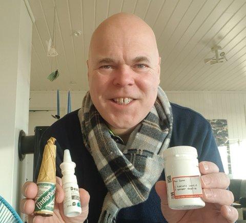 Ole Jonas lader opp med diverse remedier.