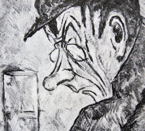 Grand Cafe, Kristiania,1915: Bildet er malt av Kjærs venn Ørnulf af Fjordene Salicath. Tilhører Grand Hotell, Oslo. Trykket med tillatelse fra kunstnerens etterkommere.